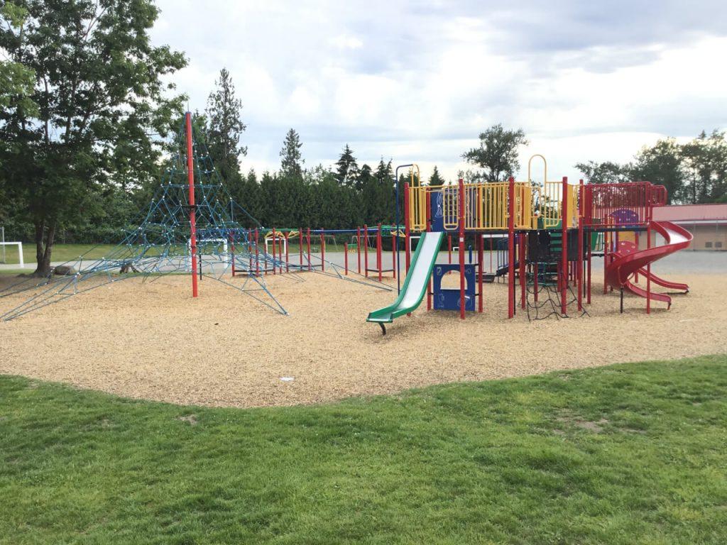 Playground Alex Hope Elementary school playground On line Collision auto body repair Langley