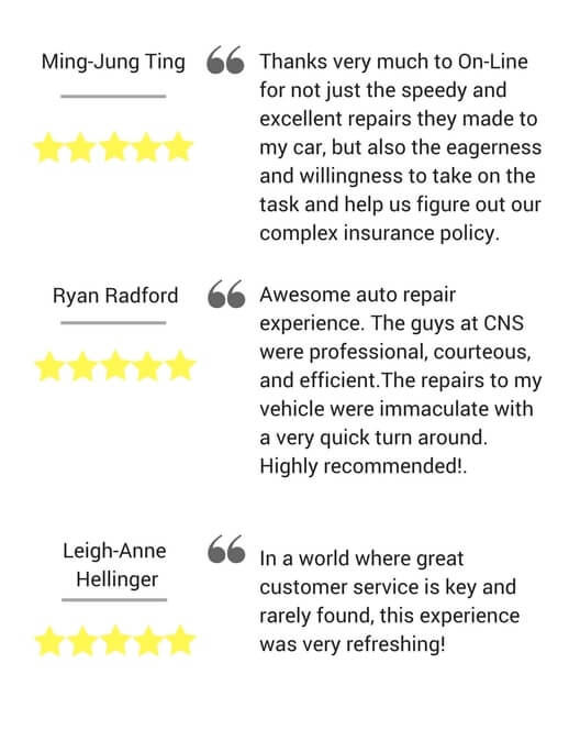 Testimonials - On Line Collision Auto Body Repair Langley
