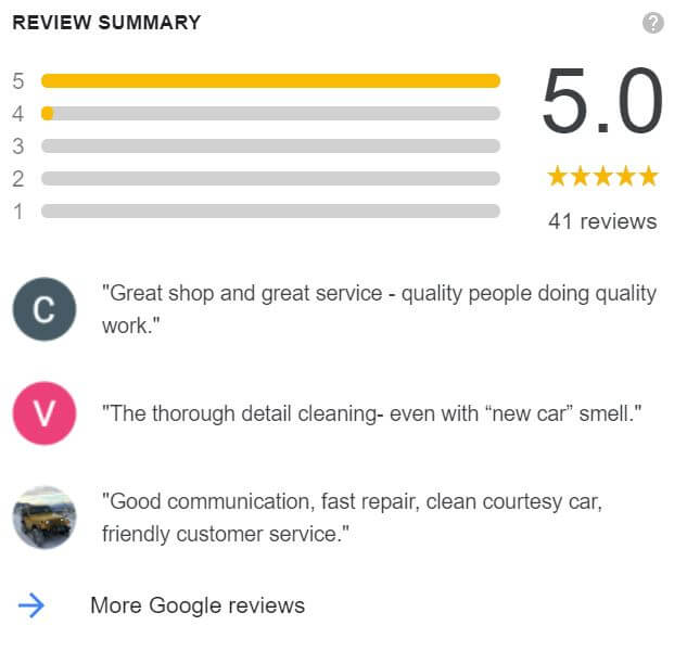 Google reviews for Langley auto body repair shop, On Line Collision