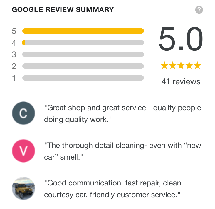 On Line Collision Google Review summary